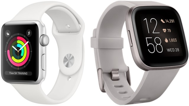 Apple Watch Series 3 (left) costs $199. Beleaguered Fitbit's Versa 2 (right) costs 95-cents more and does a whole lot less.