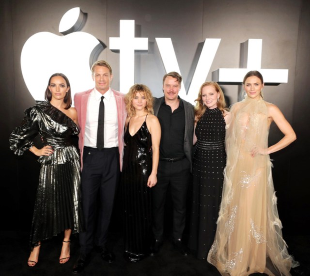"The cast of ""For All Mankind"" celebrate the launch of the new show coming to Apple TV+ on November 1. Left to right: Jodi Balfour, Joel Kinnaman, Sarah Jones, Michael Dorman, Wrenn Schmidt, Shantel VanSanten."
