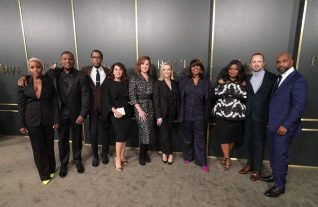 "The global premiere of ""Truth Be Told"" took place in November. The Samuel Goldwyn Theater with the cast and executive producers. Left to right: Haneefah Wood, Mekhi Phifer, Ron Cephas Jones, Annabella Sciorra, Elizabeth Perkins, Reese Witherspoon, Nichelle Tramble Spellman, Octavia Spencer, Aaron Paul, Michael Beach."