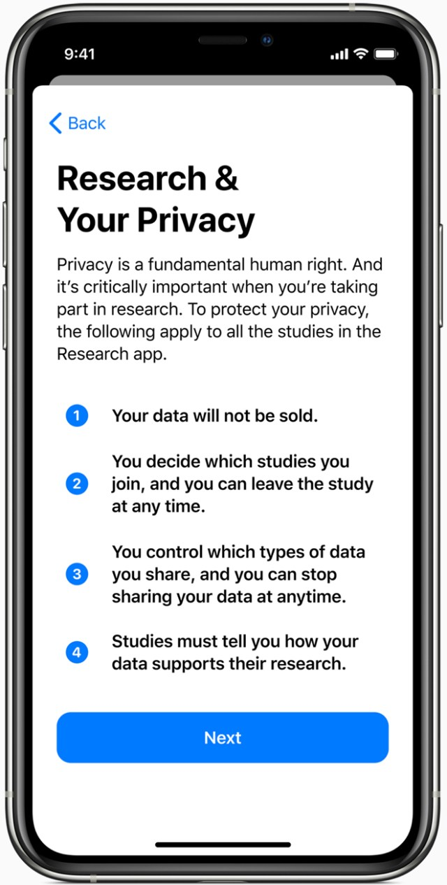 The Research app will only share data with a study when a user approves, and includes a detailed consent for each study that allows a user to control the type of data shared.