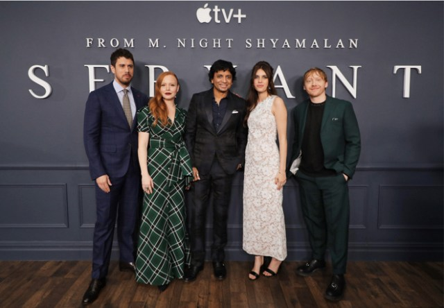 "Director and executive producer M. Night Shyamalan, with the cast of ""Servant"" at the global premiere at BAM Howard Gilman Opera House in Brooklyn, New York last October. [Left to right: Toby Kebbell, Lauren Ambrose, M. Night Shyamalan, Nell Tiger Free and Rupert Grint]"