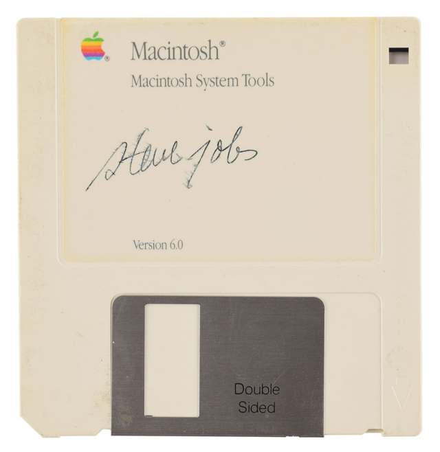 Macintosh floppy disk signed by Steve Jobs