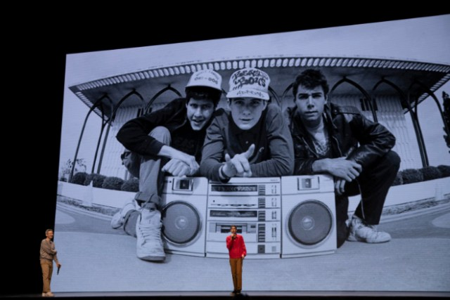 "Apple pulls out of SXSW. Image: Adam Horovitz and Mike Diamond in ""Beastie Boys Story,"" premiering April 24 on Apple TV+."