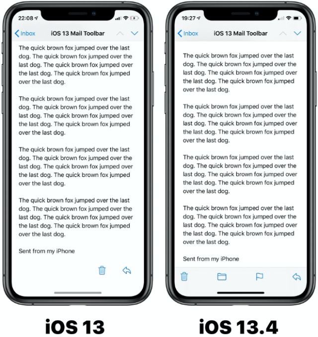iOS 13.4 Apple Mail app changes