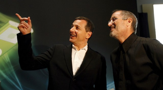 Bob Iger steps down. Image: Bob Iger and Steve Jobs