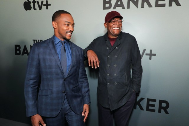"""Anthony Mackie (stars as Bernard Garrett) and Samuel L. Jackson (stars as Joe Morris) attend Apple's """"The Banker"""" premiere at the National Civil Rights Museum. """"The Banker"""" opens in select theaters on March 6, before premiering globally on Apple TV+ on March 20. Download Photo"""
