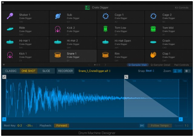 Drum Machine Designer has been tightly integrated with the new sampling features of Logic Pro X 10.5.