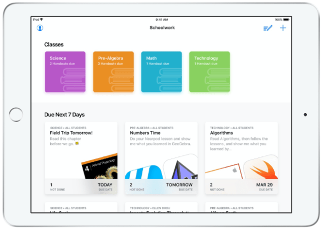 Apple Schoolwork app on iPad