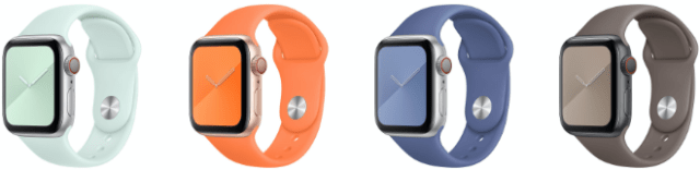 Apple Watch Sport Bands in (left to right) Seafoam, Vitamin C, Linen Blue, and Coastal Gray