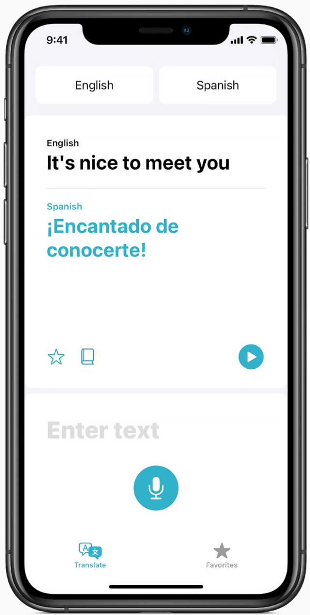 Translate helps users quickly and easily translate voice or text between supported languages, and can work completely offline to keep conversations private.