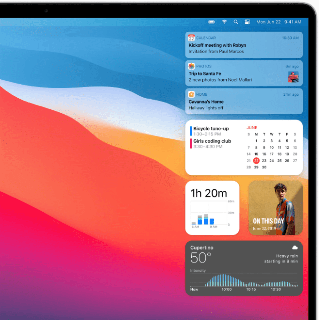 An updated Notification Center in macOS Big Sur includes more interactive notifications and redesigned widgets, providing users with more relevant information at a glance.