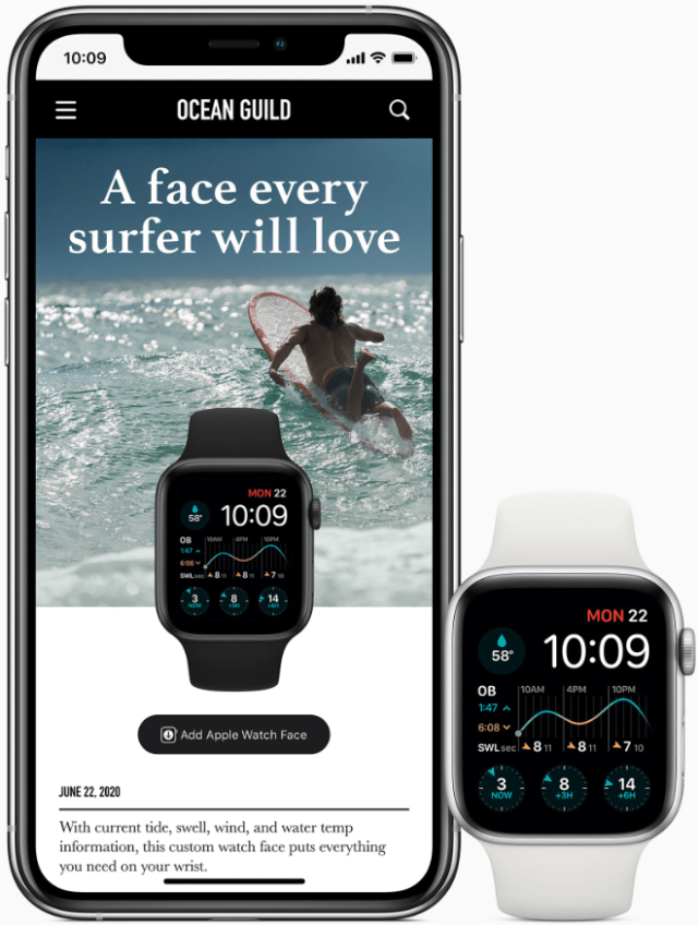 Customized watch faces can be downloaded from websites.