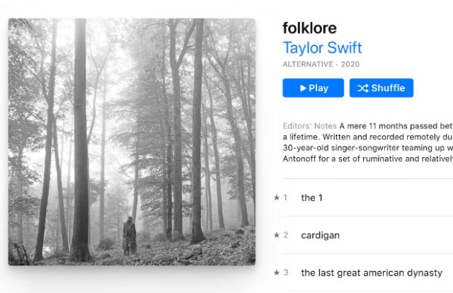"Taylor Swift's ""Folklore"" album on Apple Music"