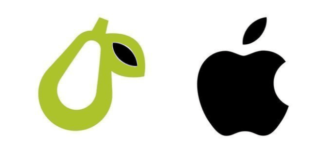 Prepear and Apple logos' leaf shapes