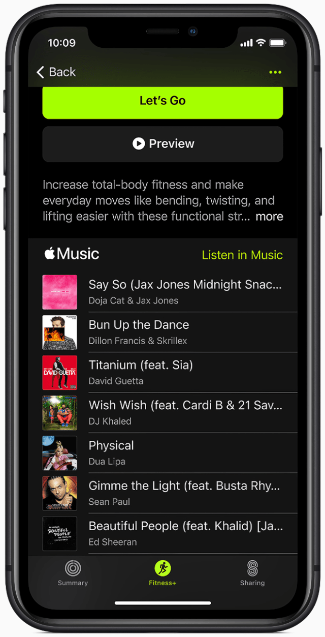 The trainer team creates inspiring playlists for Apple Fitness+ workouts.