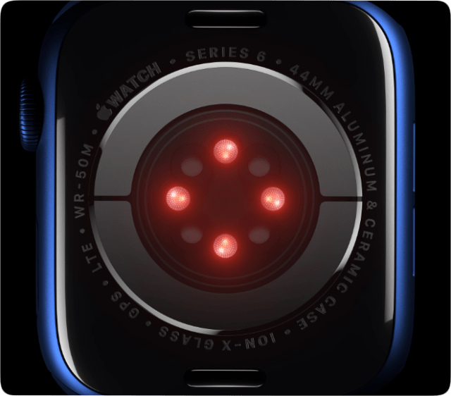 The Blood Oxygen sensor uses LEDs, along with photodiodes on the back of the Apple Watch Series 6.
