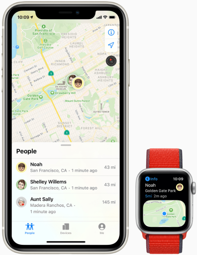 With Family Setup, the family member's location can be shared with their guardian through the Find People app on the Apple Watch.