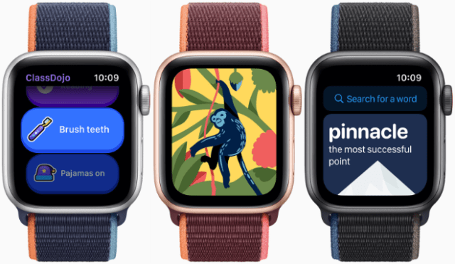 Using the App Store on Apple Watch, kids can download third-party apps like ClassDojo, Coloring Watch, and LookUp: English Dictionary.