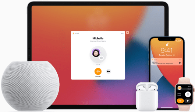 Intercom offers a quick and easy way to send messages to everyone in a household — from one HomePod to another, or across iPhone, iPad, Apple Watch, AirPods, and CarPlay.