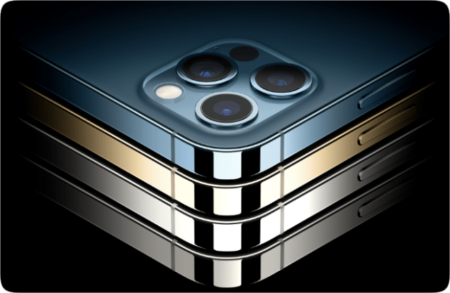 iPhone 12 Pro and iPhone 12 Pro Max will be available in four stainless steel finishes, including graphite, silver, gold, and pacific blue.