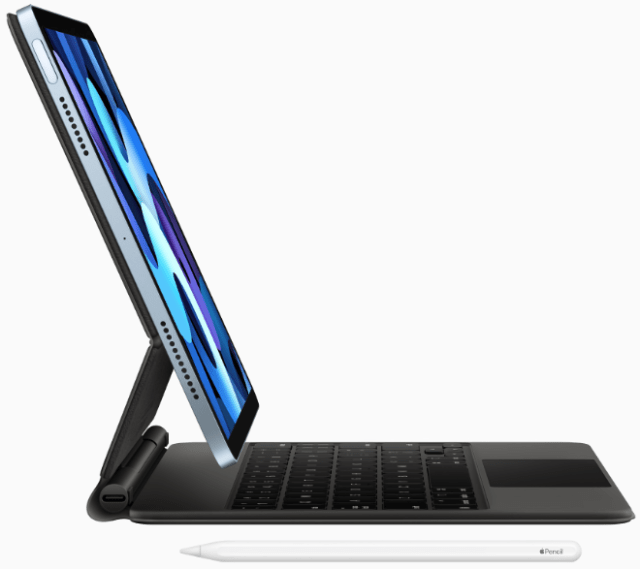 iPad Air is incredibly versatile, featuring support for Magic Keyboard with built-in trackpad and Apple Pencil, which attaches magnetically for easy pairing, charging, and storing.