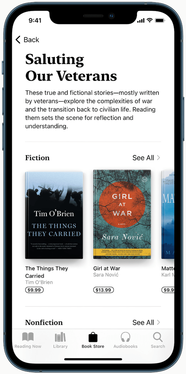 Readers can discover true and fictional stories, mostly written by veterans, in the Saluting our Veterans collection on Apple Books.
