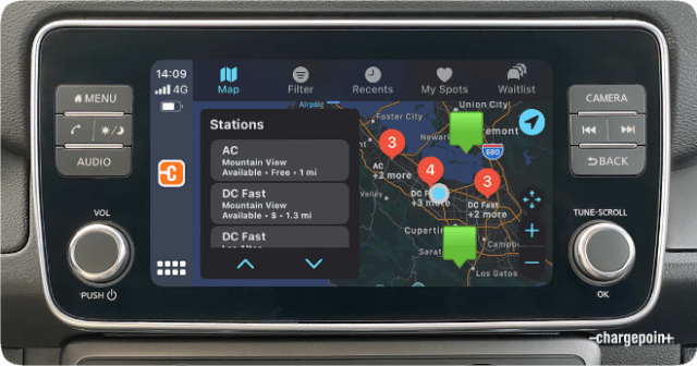ChargePoint integration with Apple CarPlay brings essential charging data into the vehicle. (Photo credit: ChargePoint)