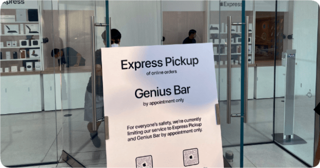 Apple Retail Store Express Pickup Storefront (photo: Twitter page Marci Harris @marcidale)