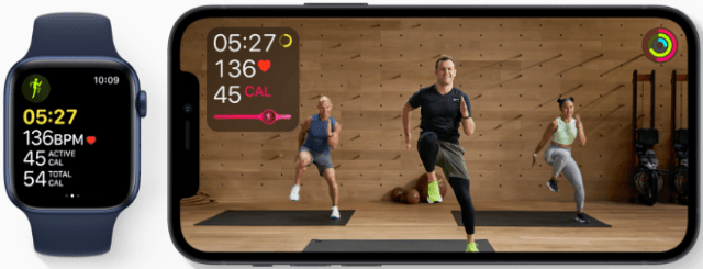 Apple Fitness+ intelligently incorporates workout metrics from Apple Watch for a first-of-its-kind personalized and immersive workout experience.