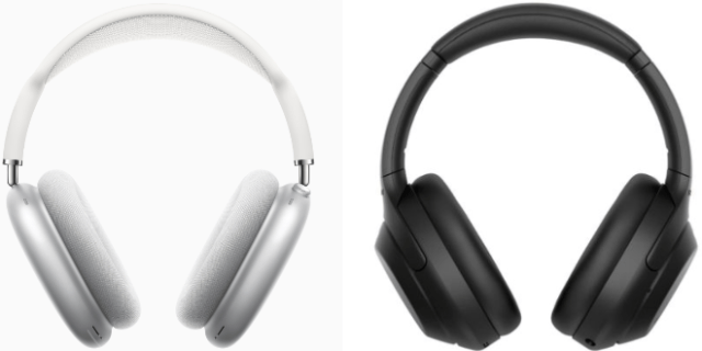 Apple AirPods Max (left), Sony WH-1000XM4 (right)