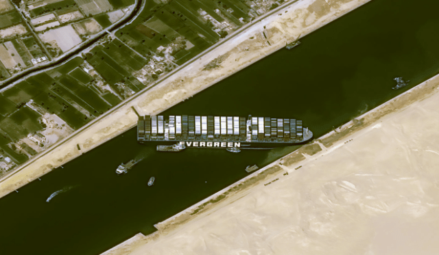 Suez canal blockage seen from space showing the stuck container ship (Photo: Airbus-built Pléiades high-res. satellite image camera)