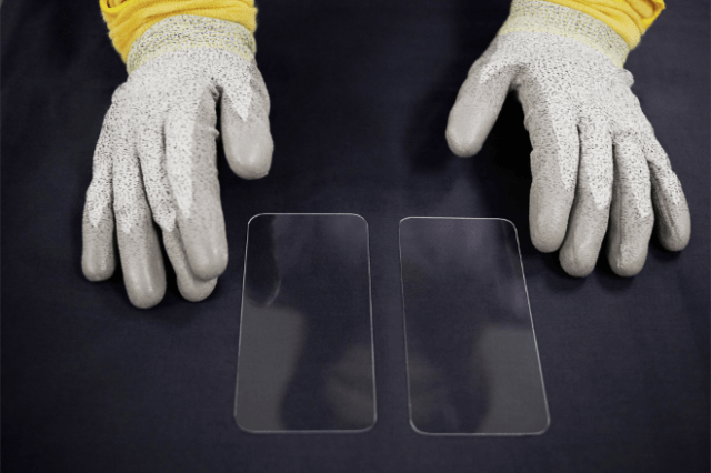 The new front cover of the iPhone 12 lineup features Ceramic Shield, a glass-ceramic which gets its strength from nano-ceramic crystals.