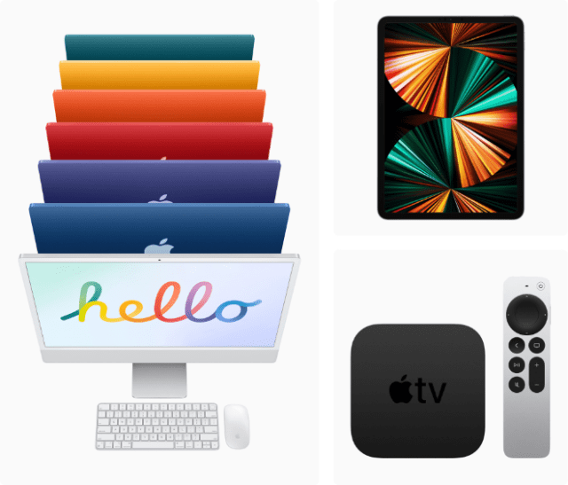 Customers can purchase the all-new iMac, the M1-powered iPad Pro, and the next generation of Apple TV 4K at Apple Store locations beginning Friday, May 21.