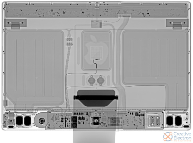 X-ray image of Teardown of Apple's new 24-inch M1 iMac reveals two huge metal plates