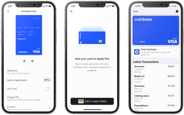 Coinbase Cards now work with Apple Pay