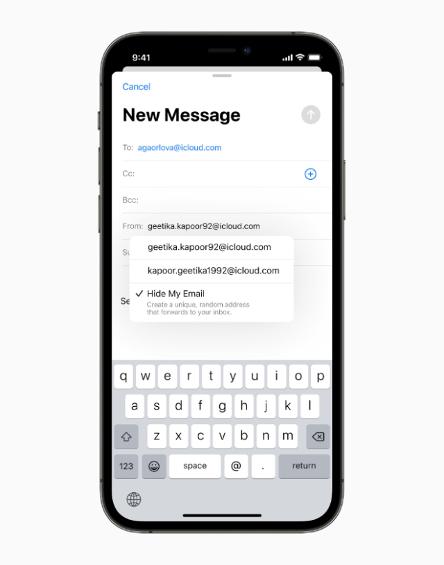Built directly into Safari, iCloud settings, and Mail, Hide My Email enables users to create and delete as many addresses as needed at any time, helping give users control of who is able to contact them