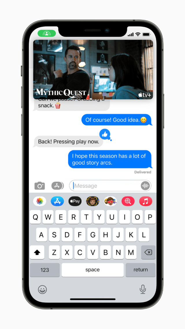 With SharePlay, users can now share experiences while connecting with friends on FaceTime, including watching a TV show or movie in sync on Apple TV, or sharing their screen to view apps together.