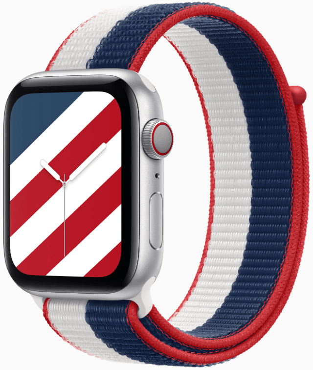 Apple's U.S. International Collection Sport Loop and Stripes watch face celebrates America.