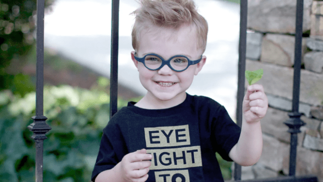 Asher Rock, who is 7-years-old today, is a survivor of Grade D Retinoblastoma after being diagnosed when he was just 3-months old. (Courtesy of Josie Rock via Fox News)