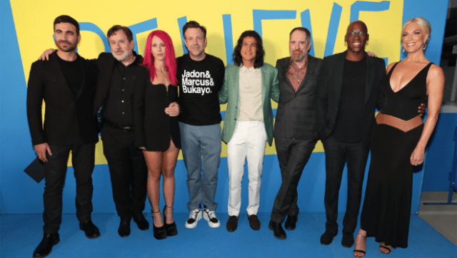 "The cast of ""Ted Lasso"" – Brett Goldstein, Jeremy Swift, Juno Temple, Jason Sudeikis, Cristo Fernandez, Brendan Hunt, Moe Jeudy-Lamour and Hannah Waddingham – attend the ""Ted Lasso"" season two premiere in Los Angeles, CA."