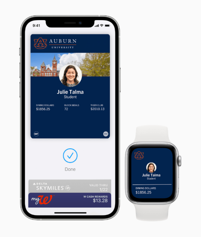 With their student IDs in Wallet, university students and faculty can simply tap their iPhone or Apple Watch to access campus buildings and make purchases.