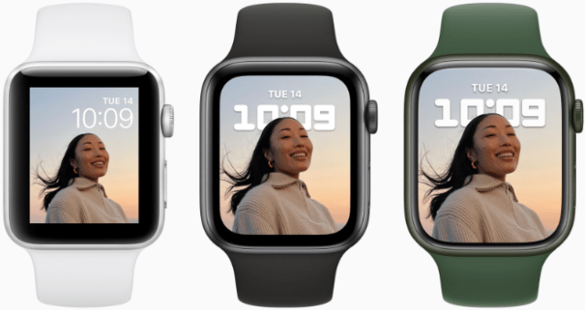 The stunning Apple Watch Series 7 display is nearly 20 percent larger than that of Apple Watch Series 6, and over 50 percent larger than that of Apple Watch Series 3, with an optimized user interface for greater readability and ease of use.