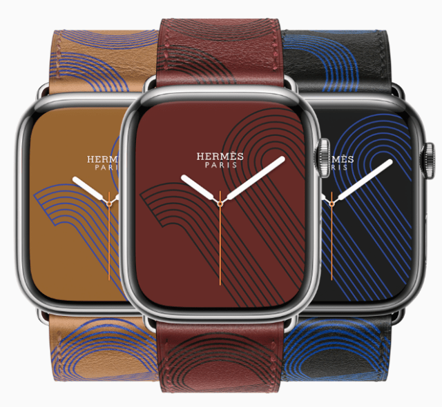 Apple Watch Hermès introduces the Circuit H, a bold graphic representation of a signature anchor chain design, printed in Swift leather with a complementary watch face.