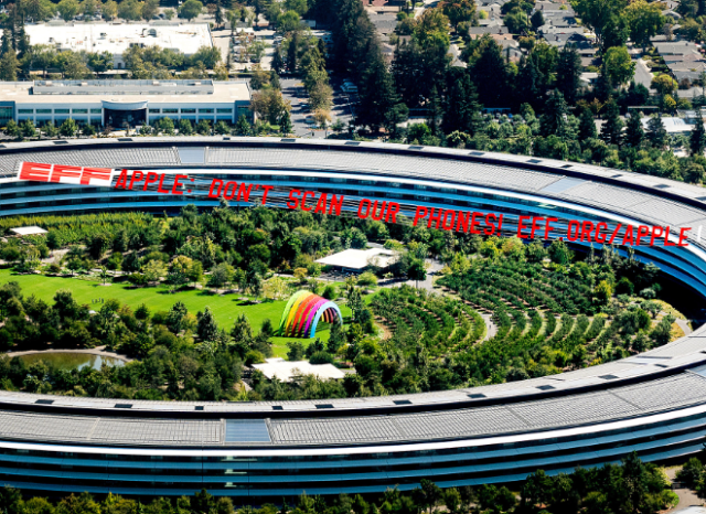 """EFF flies """"Apple: Dont scan our iPhones!"""" banner over Apple Park in Cupertino, California"""