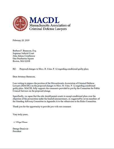 MACDL Letter of Support for Conditional Guilty Pleas