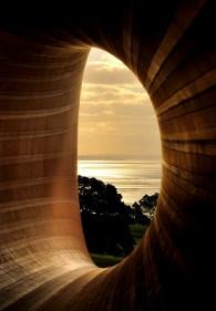 open009,evening sunset through a sculpture