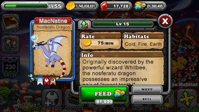 DragonVale Nosferatu Dragon