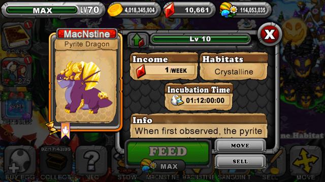 DragonVale Pyrite Dragon