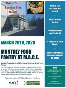 STILL ON! Food Pantry (Drive Through) @ MACE Islamic Center