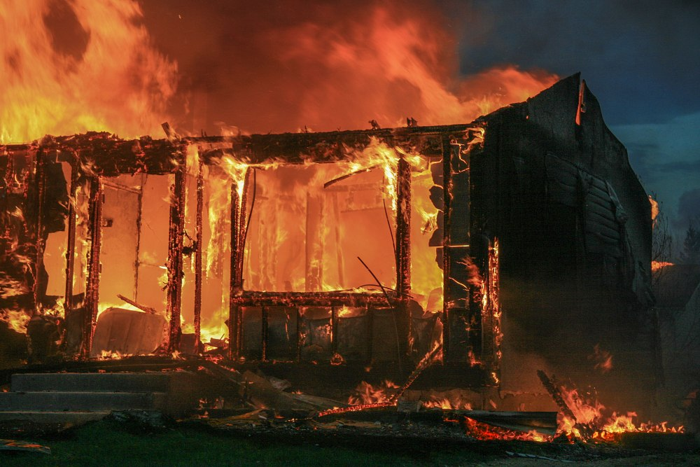 A photo of a house on fire in Slave Lake, circa 2011.